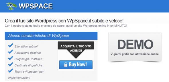 Crea il tuo sito Wordpress con WpSpace.it subito e veloce