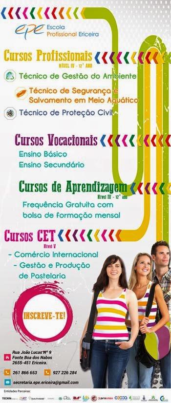 Cursos profissionais, vocacionais, aprendizagem e CET´s – Ericeira