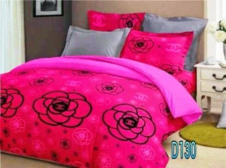 sprei kattun motif chanel camelia pink