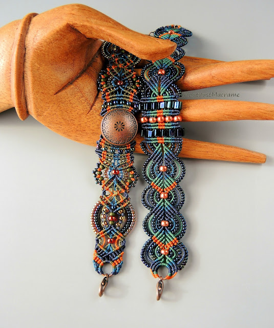 Colors of Autumn micro macrame bracelets by Sherri Stokey.