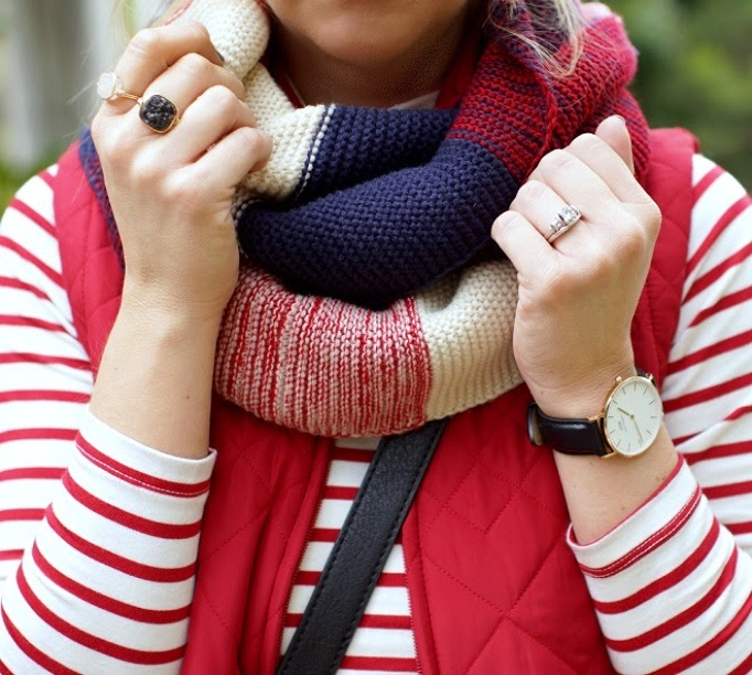red white and navy golden tote infinity scarf wrenn jewelry