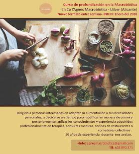 CURSO DE PROFUNDIZACIÓN EN LA MACROBIÓTICA 2018 en LLíber (Alicante)