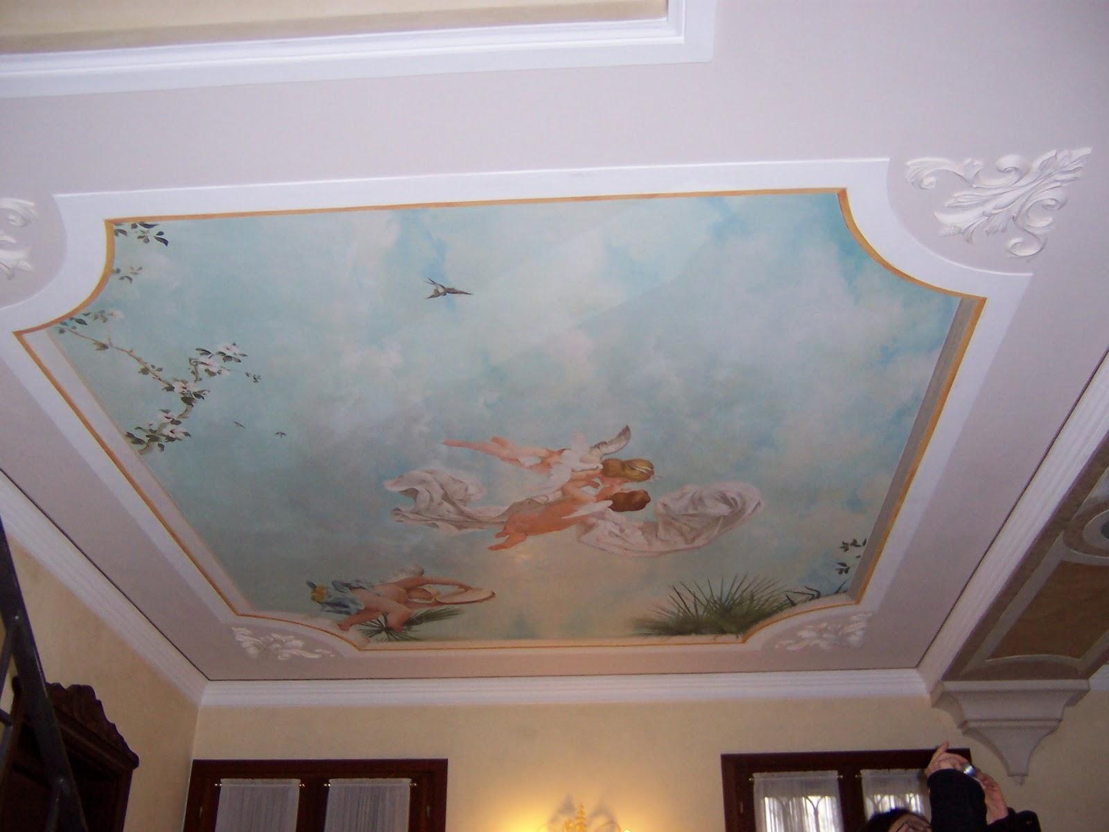Blue decor decorazioni a soffitto trompe l 39 oeil - Decorazioni soffitto ...