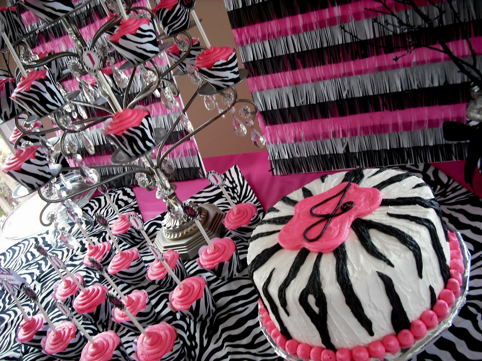 Julie ann events sweet sixteen the dessert station for Animal print party decoration ideas
