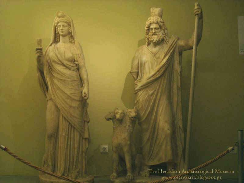 Statue of Isis-Persephone holding a sistrum (left) Zeus-Seraphis(right)