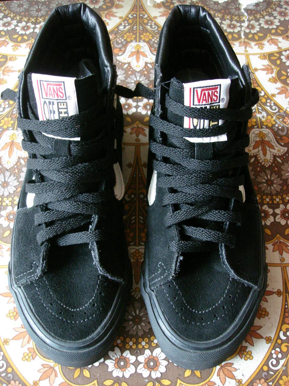 Vintage VANS Custom Black Suede Velvet SK8 HI Style 38 MADE IN USA 1990s Off The Wall US75