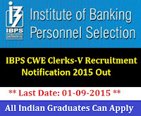 IBPS CWE Clerk-V Exam 2015