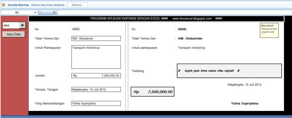 Membuat fungsi terbilang pada Microsoft Excel 2007
