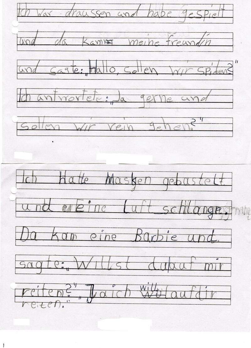Karl-Weise-Grundschule: Freies Schreiben: Zwei weitere Beispiele aus ...