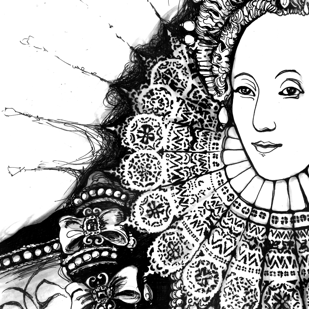 Line Drawing Of Queen Elizabeth Ii : Immortal longings shakespeare original art and