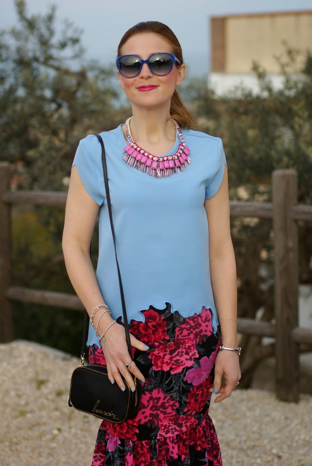 floral print pencil skirt, Sodini bijoux pink necklace, zara bonsoir bag, Fashion and Cookies, fashion blogger