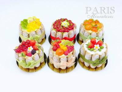 Display of six handmade miniature charlottes