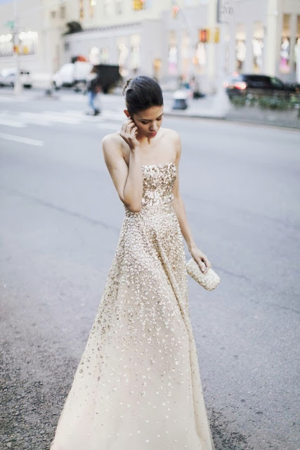 street style: gorgeous sequin soft white gown