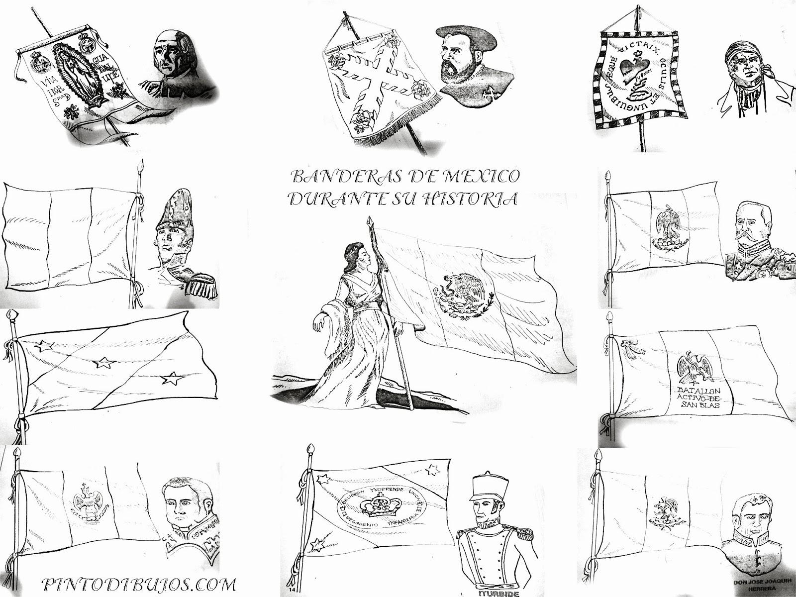Pinto Dibujos 24 de febrero banderas de Mexico para colorear