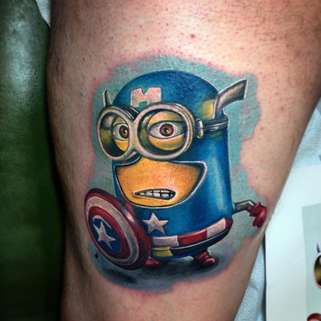 Captain America Minion Tattoo ~ Tattoo Geek - Ideas for best tattoos Batman Tattoo Chest