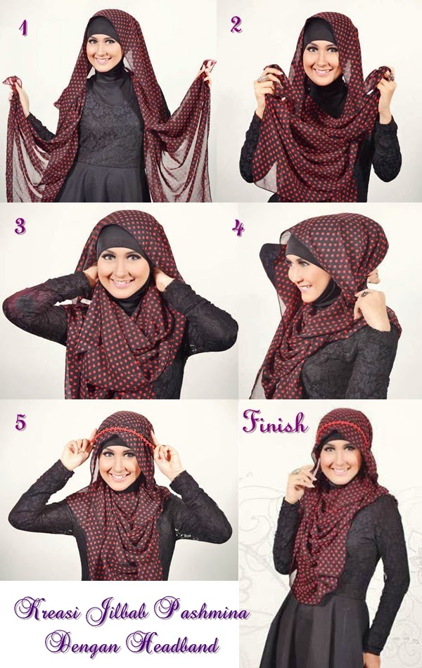 cara memakai jilbab pashmina sifon elegan