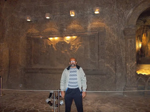 """In the underground """"Holy Cross Chapel"""" with the """"Last Supper"""" engraved on rock salt walls."""