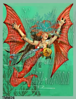flying mermaid fabric blocks Halloween by vintagemermaidsfabricblockscom