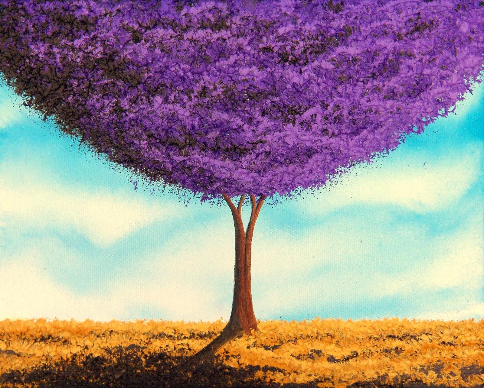 contemporary art paintings of trees 8 x 10 original oil