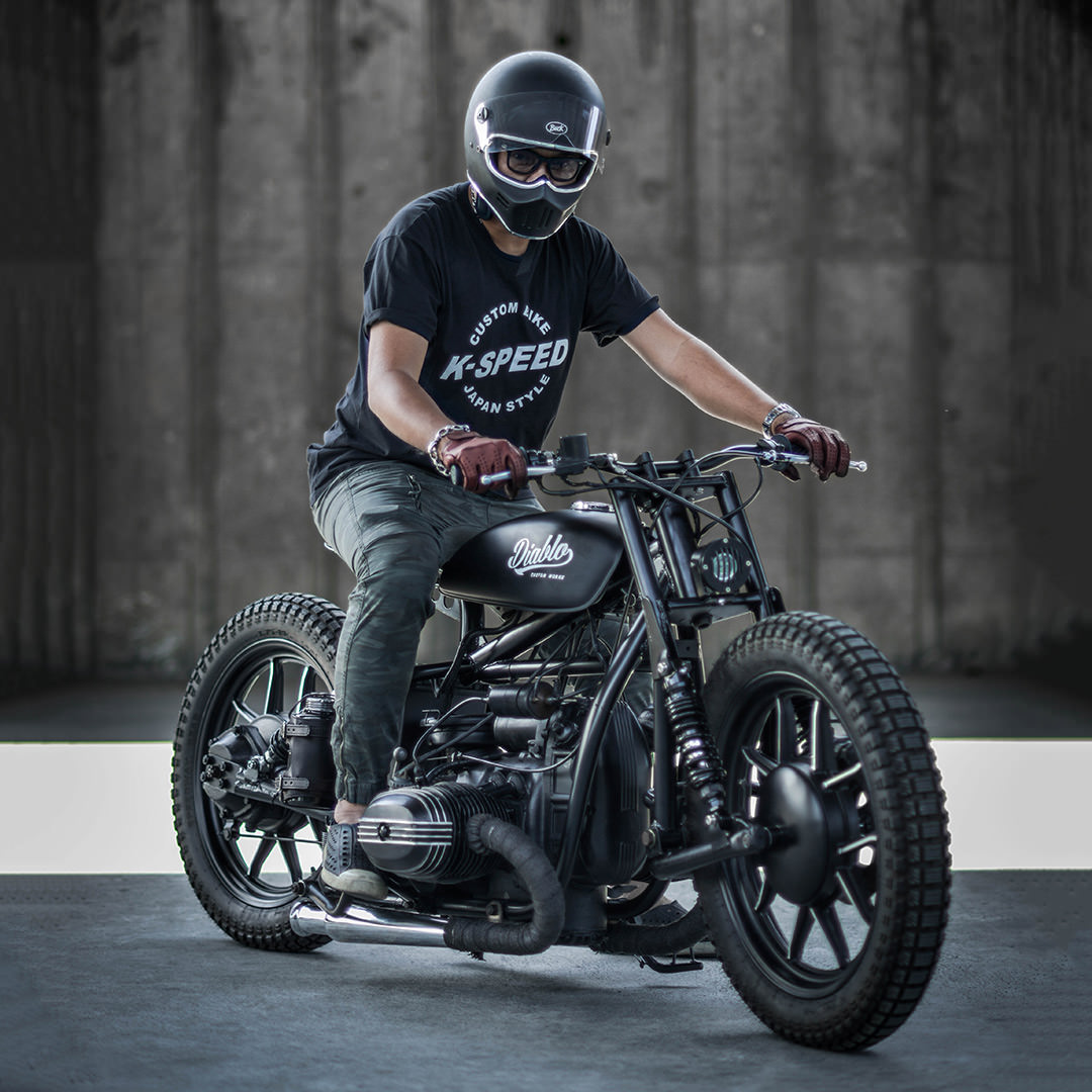 one of the K-Speed team guys trying to ride the Diablo Ural bike