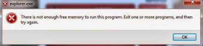 Error yang terjadi di windows biasanya dikarenakan adanya bug pada sistem operasi Error Windows There Is No Enough Memory To Run This Program