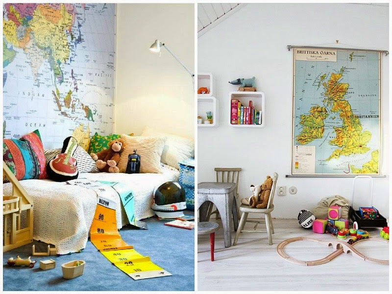 Map feature walls in kids bedrooms