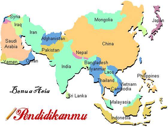 Pembagian Wilayah Negara-Negara Di Benua Asia Terlengkap