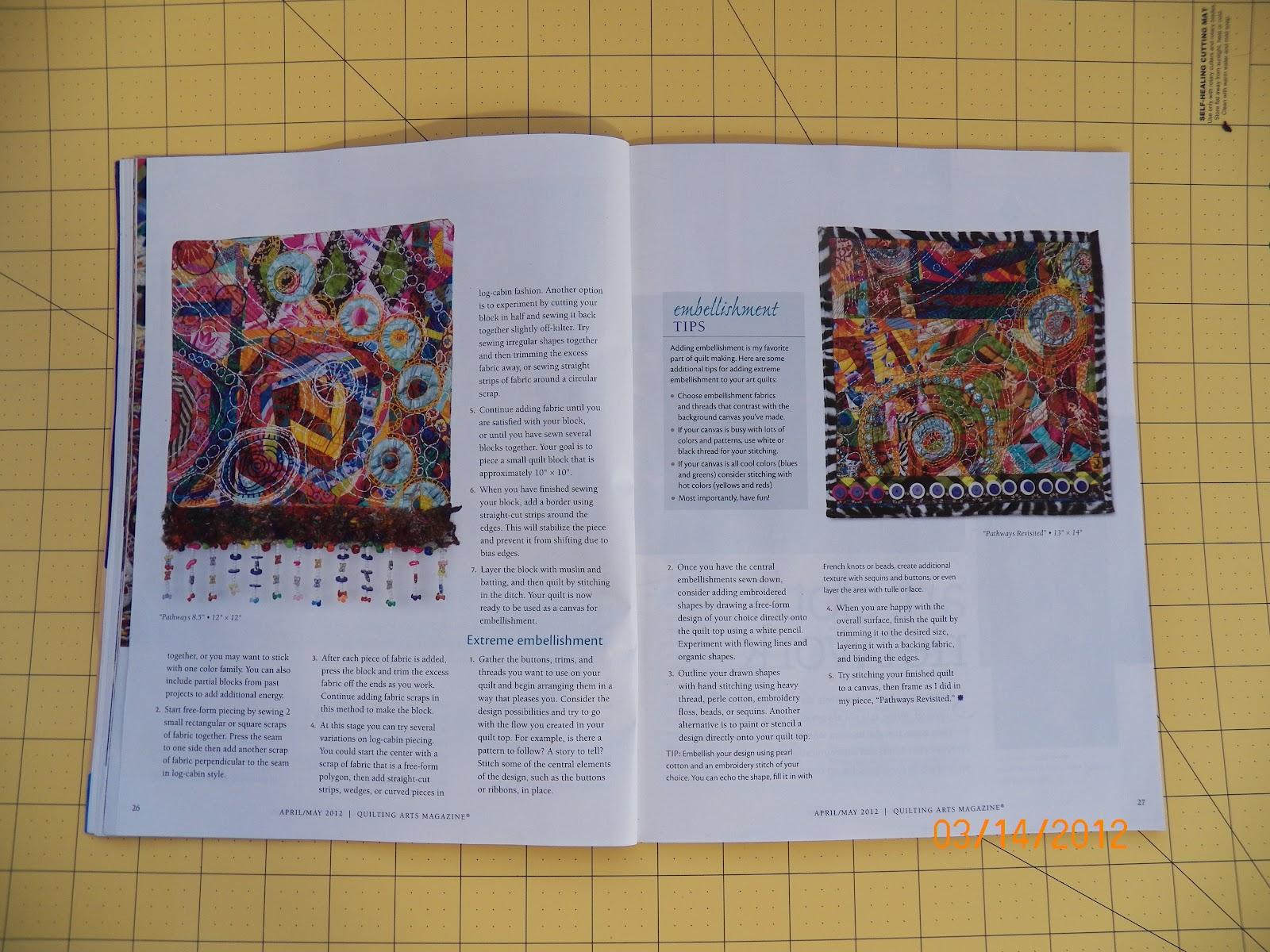 Karen Loprete Contemporary Fiber Artist: Yes! That's me in ... : quilt art magazine - Adamdwight.com