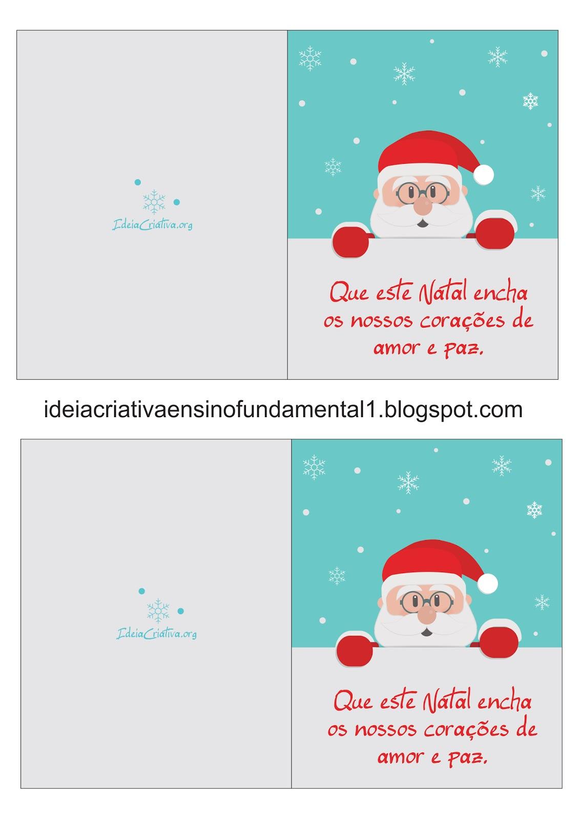 Cartão de Natal Papai Noel Mensagem Natalina para Imprimir