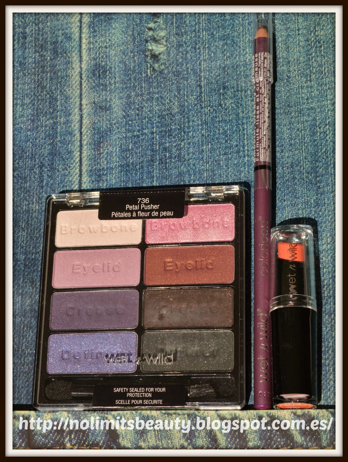 Wet and Wild: Color Icon Eyeshadow Palette en 736 Petal Pusher, Mega Last Lip Color en 903 Just Peachy y Eyeliner en 661C Amethiste