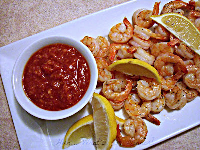 Hun... What's for Dinner? Roasted Shrimp Cocktail- a super simple appetizer, perfect for the holiday season
