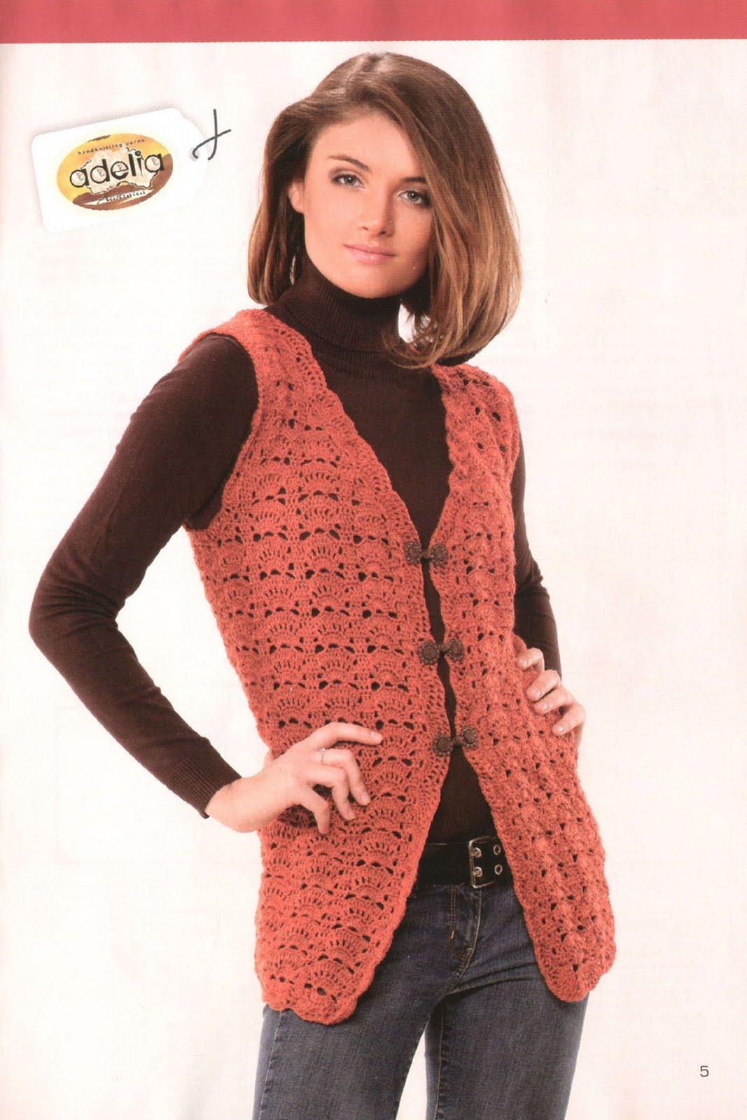 Вязание оригинального жилета из меланжевой пряжи.