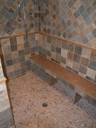 Somma design in tile and marble shower tile design with river rock mosaic floor