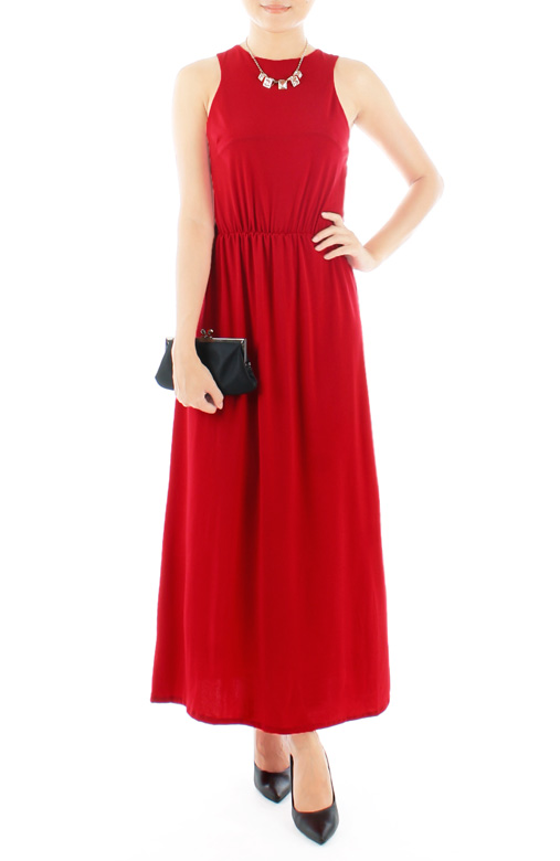 Oxford High Neck Maxi Dress in Crimson Red