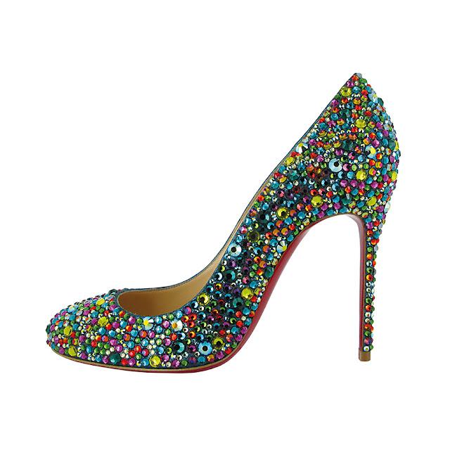 Louboutin Pumps- Heels Fifi Strass Green Pebbles Blog