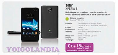 Sony Xperia T Yoigo por 0€ en febrero 2013
