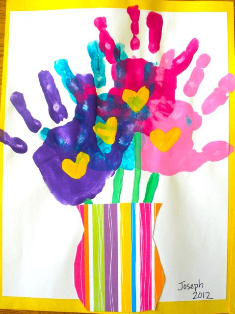 handprint bouquets for mother's day