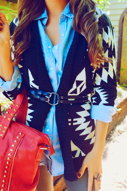 Black and white long sweater and blue shirt for fall