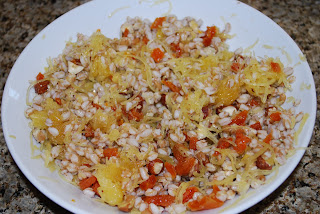 Spaghetti squash salad with faro, dried apricots, hazelnuts and ume plum vinegarette