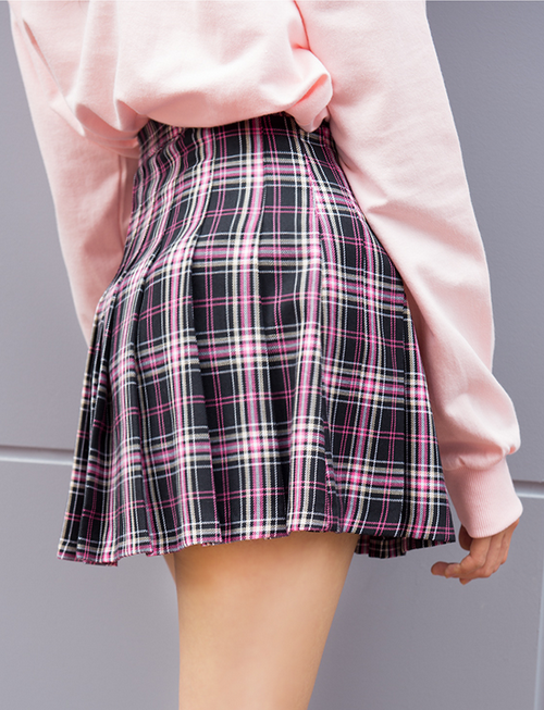 Pleated Plaid Mini Skirt