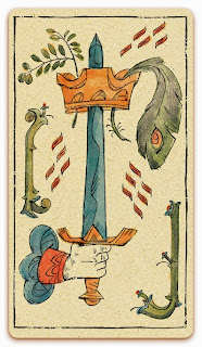 Ace of Swords card - Colored illustration - In the spirit of the Marseille tarot - minor arcana - design and illustration by Cesare Asaro - Curio & Co. (Curio and Co. OG - www.curioandco.com)