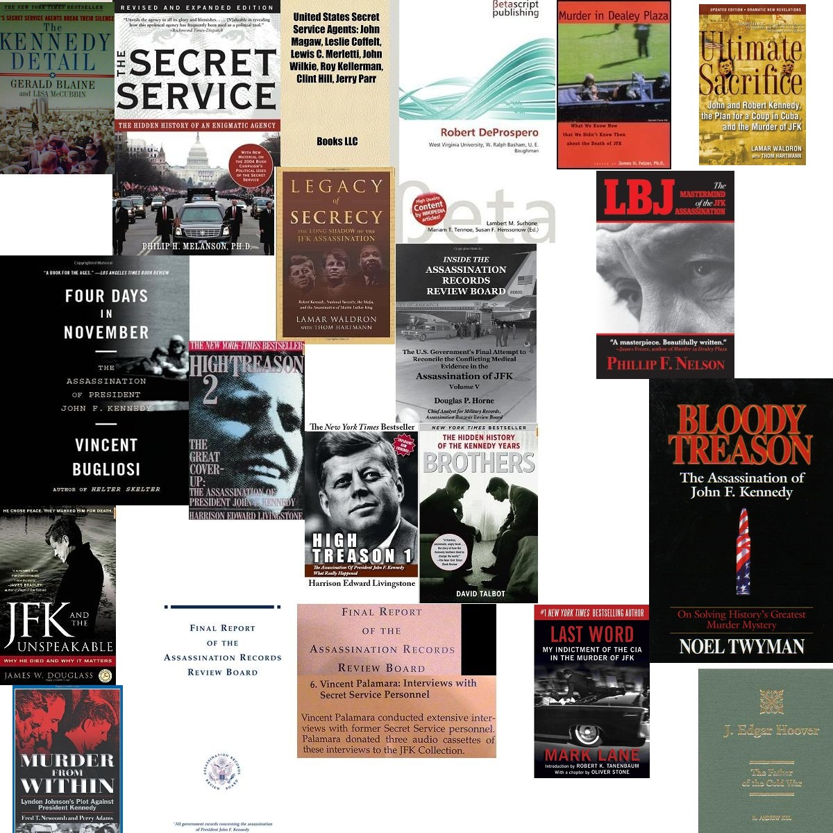 VINCE PALAMARA- JUST SOME OF THE MANY SECRET SERVICE/ JFK BOOKS I AM IN