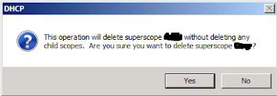 DHCP Superscope deletion