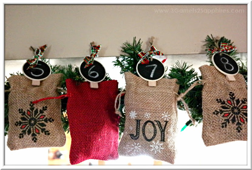 Easy DIY Advent Calendar Countdown to Christmas Chalkboard Ornaments Craft How-To  |  www.3Garnets2Sapphires.com