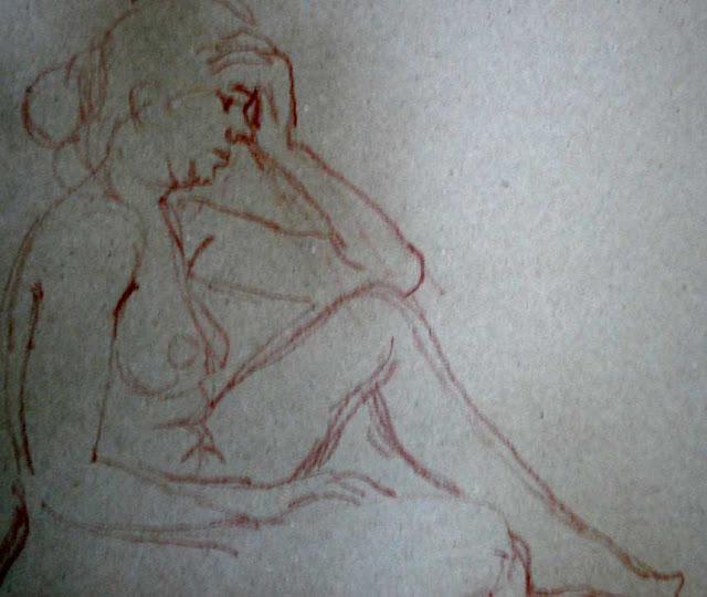 nackte, Frau, sitzend,nude woman sitting, Mädchen, Akt, Zeichnung, Rötel, drawing by Wolfgang Glechner
