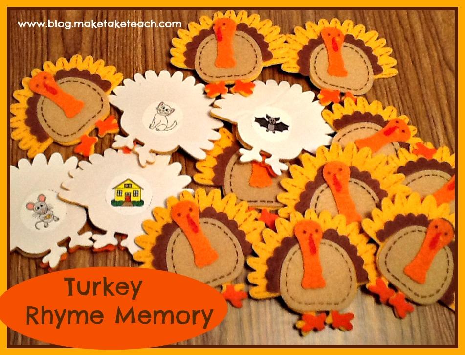 classroom freebies thanksgiving rhyming activity