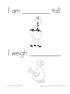 To Download This Sample Height And Weight Page From My All About Me Book CLICK HERE