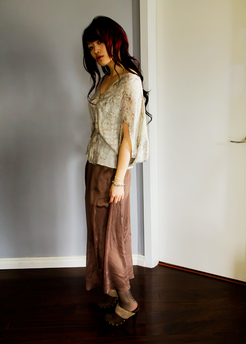Almond milk inspried outfit, obakki silk shirt, obakki silk max skirt, maxi skirt, aldo tights, aldo clogs, almond milk, bottega venetta purse