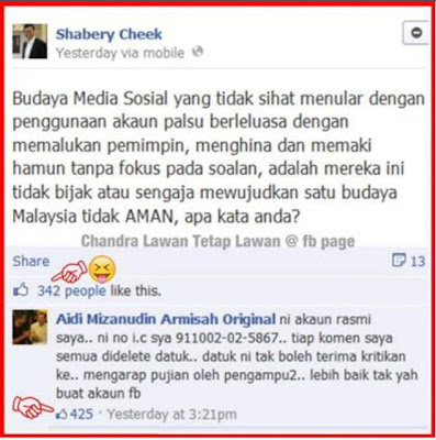Print Screen Status Shabery Cheek Di Facebook