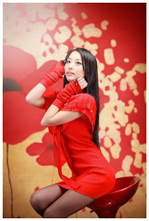 Seo You Jin Korean Sexy Model hot red mini robe 11